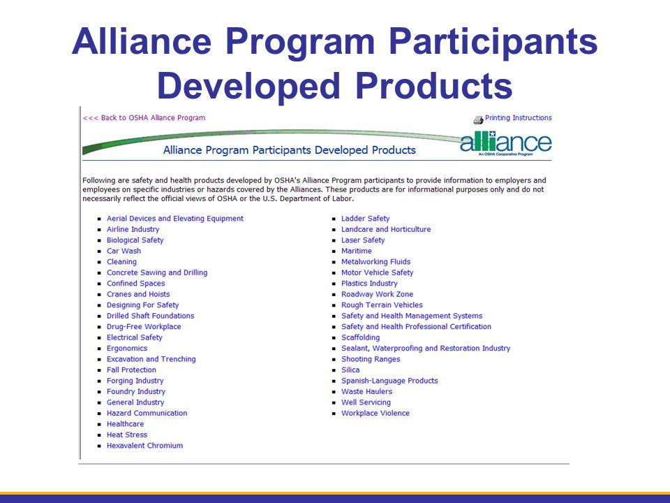 Alliance Program Participants Developed Products