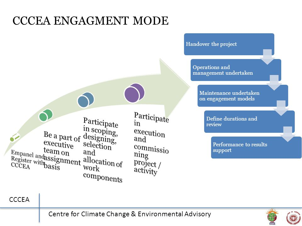 CCCEA Centre for Climate Change & Environmental Advisory CCCEA ENGAGMENT MODE Handover the project Operations and management undertaken Maintenance undertaken on engagement models Define durations and review Performance to results support