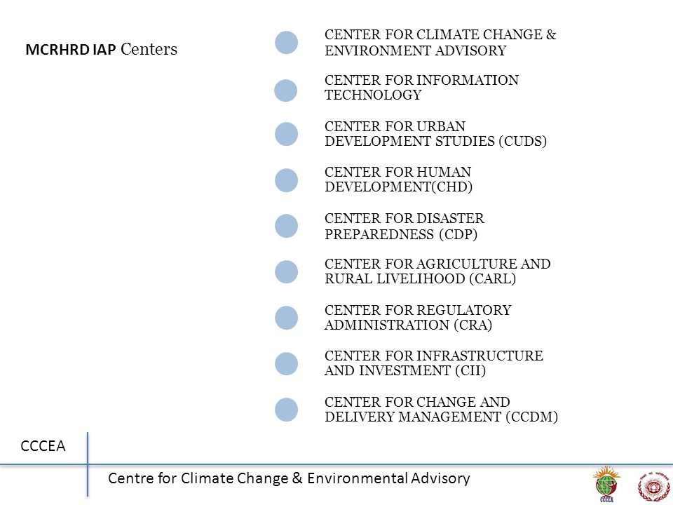 CCCEA Centre for Climate Change & Environmental Advisory CENTER FOR CLIMATE CHANGE & ENVIRONMENT ADVISORY CENTER FOR INFORMATION TECHNOLOGY CENTER FOR URBAN DEVELOPMENT STUDIES (CUDS) CENTER FOR HUMAN DEVELOPMENT(CHD) CENTER FOR DISASTER PREPAREDNESS (CDP) CENTER FOR AGRICULTURE AND RURAL LIVELIHOOD (CARL) CENTER FOR REGULATORY ADMINISTRATION (CRA) CENTER FOR INFRASTRUCTURE AND INVESTMENT (CII) CENTER FOR CHANGE AND DELIVERY MANAGEMENT (CCDM) MCRHRD IAP Centers
