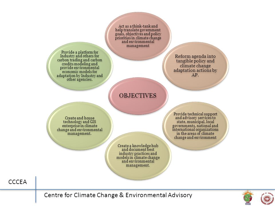 CCCEA Centre for Climate Change & Environmental Advisory OBJECTIVES Act as a think-tank and help translate government goals, objectives and policy priorities in climate change and environmental management Reform agenda into tangible policy and climate change adaptation actions by AP.
