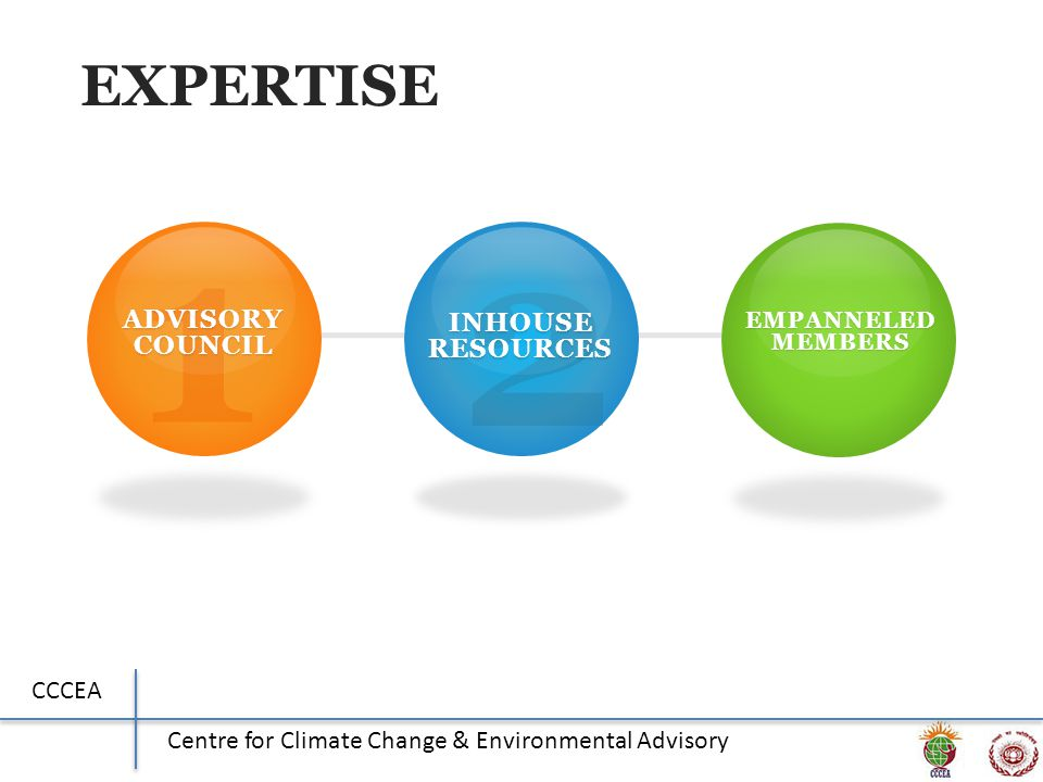 CCCEA Centre for Climate Change & Environmental Advisory EXPERTISE 1 ADVISORY COUNCIL 2 INHOUSE RESOURCES 3 EMPANNELED MEMBERS