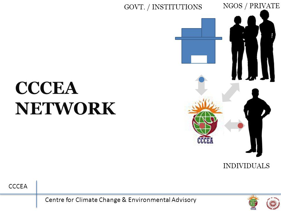 CCCEA Centre for Climate Change & Environmental Advisory CCCEA NETWORK GOVT. / INSTITUTIONS NGOS / PRIVATE INDIVIDUALS
