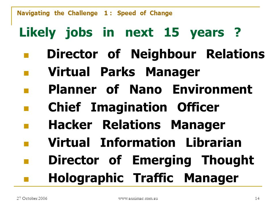 27 October 2006 www.annimac.com.au 14 Likely jobs in next 15 years ? Director of Neighbour Relations Virtual Parks Manager Planner of Nano Environment