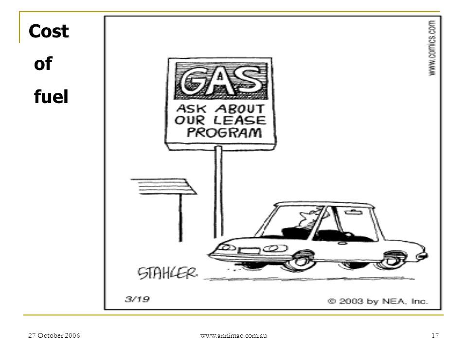 27 October 2006 www.annimac.com.au 17 Cost of fuel