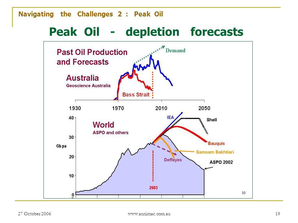 27 October 2006 www.annimac.com.au 19 Peak Oil - depletion forecasts Navigating the Challenges 2 : Peak Oil
