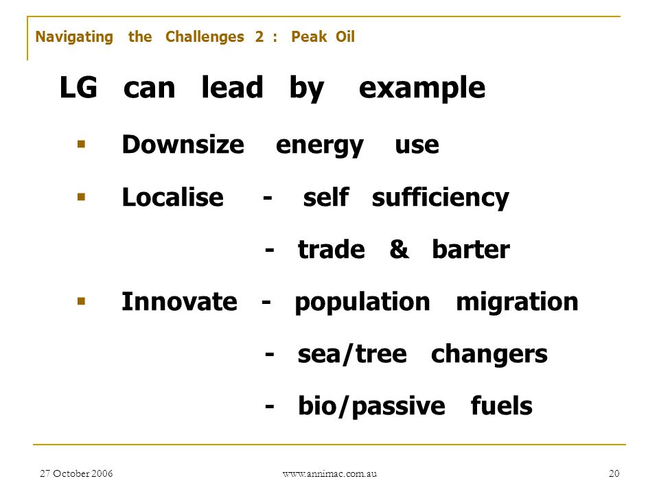 27 October 2006 www.annimac.com.au 20 LG can lead by example  Downsize energy use  Localise - self sufficiency - trade & barter  Innovate - populat