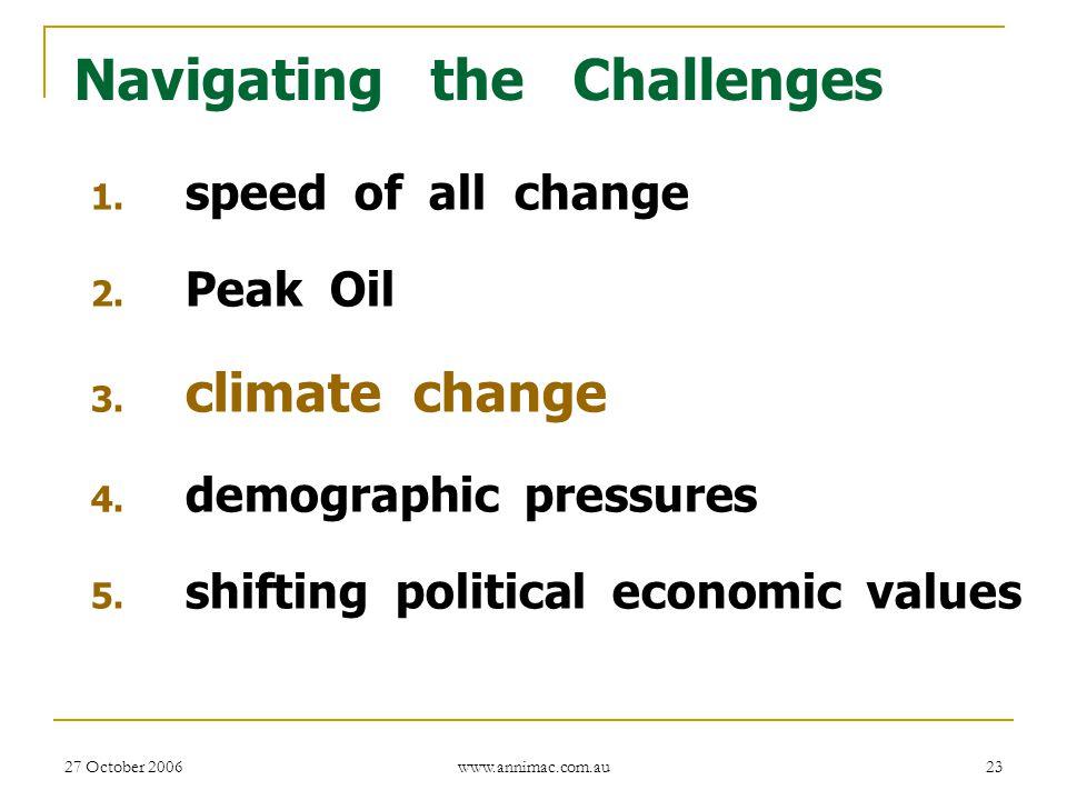 27 October 2006 www.annimac.com.au 23 Navigating the Challenges 1. speed of all change 2. Peak Oil 3. climate change 4. demographic pressures 5. shift