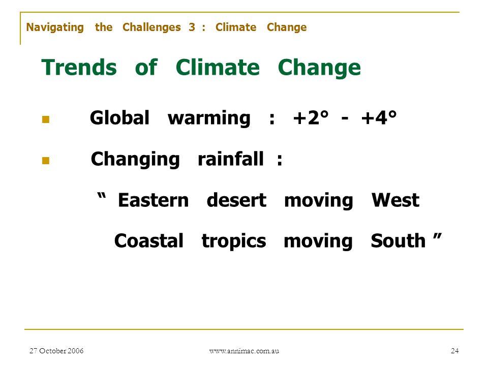 "27 October 2006 www.annimac.com.au 24 Trends of Climate Change Global warming : +2° - +4° Changing rainfall : "" Eastern desert moving West Coastal tro"