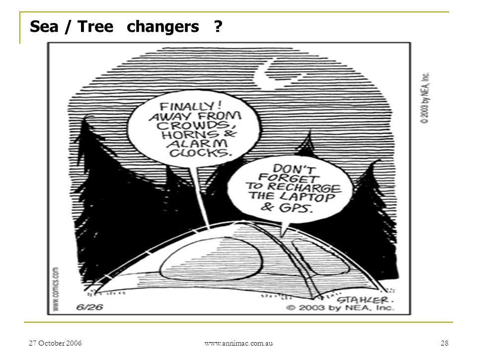 27 October 2006 www.annimac.com.au 28 Sea / Tree changers ?