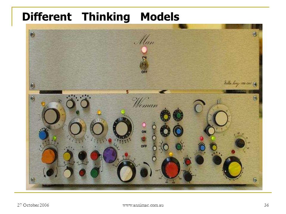 27 October 2006 www.annimac.com.au 36 Different Thinking Models