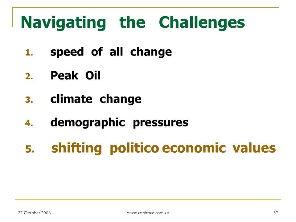 27 October 2006 www.annimac.com.au 37 Navigating the Challenges 1. speed of all change 2. Peak Oil 3. climate change 4. demographic pressures 5. shift