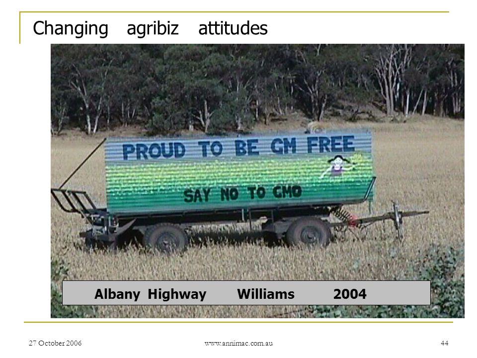 27 October 2006 www.annimac.com.au 44 Albany Highway Williams 2004 Changing agribiz attitudes