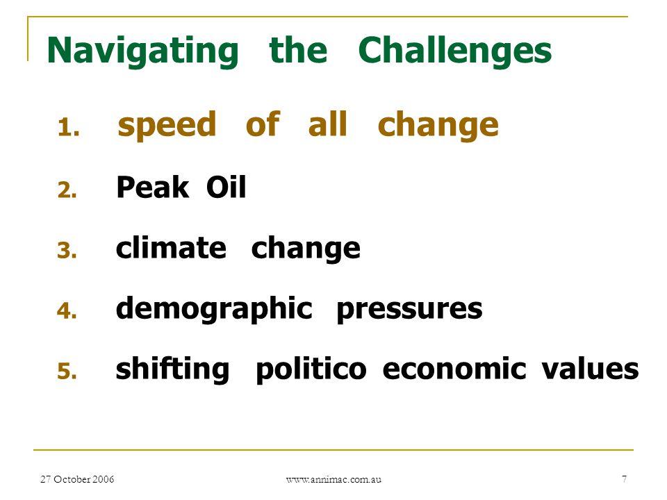 27 October 2006 www.annimac.com.au 7 Navigating the Challenges 1. speed of all change 2. Peak Oil 3. climate change 4. demographic pressures 5. shifti
