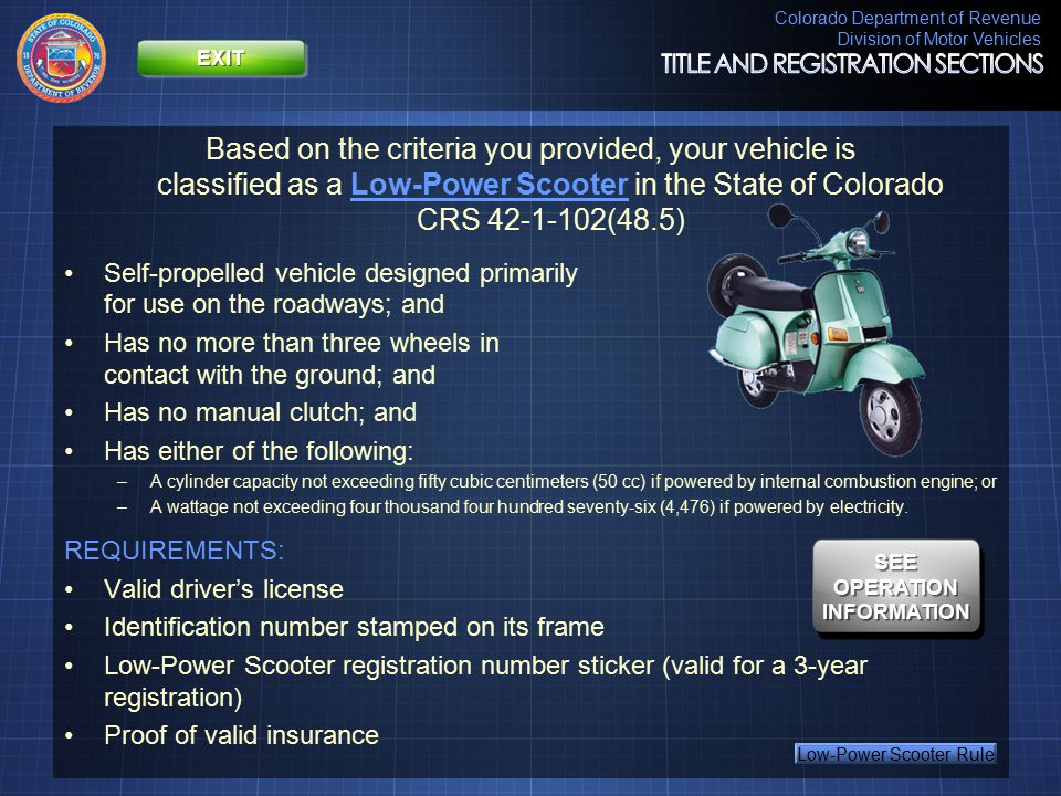 Colorado Department of Revenue Division of Motor Vehicles Thank you for using this online tool.