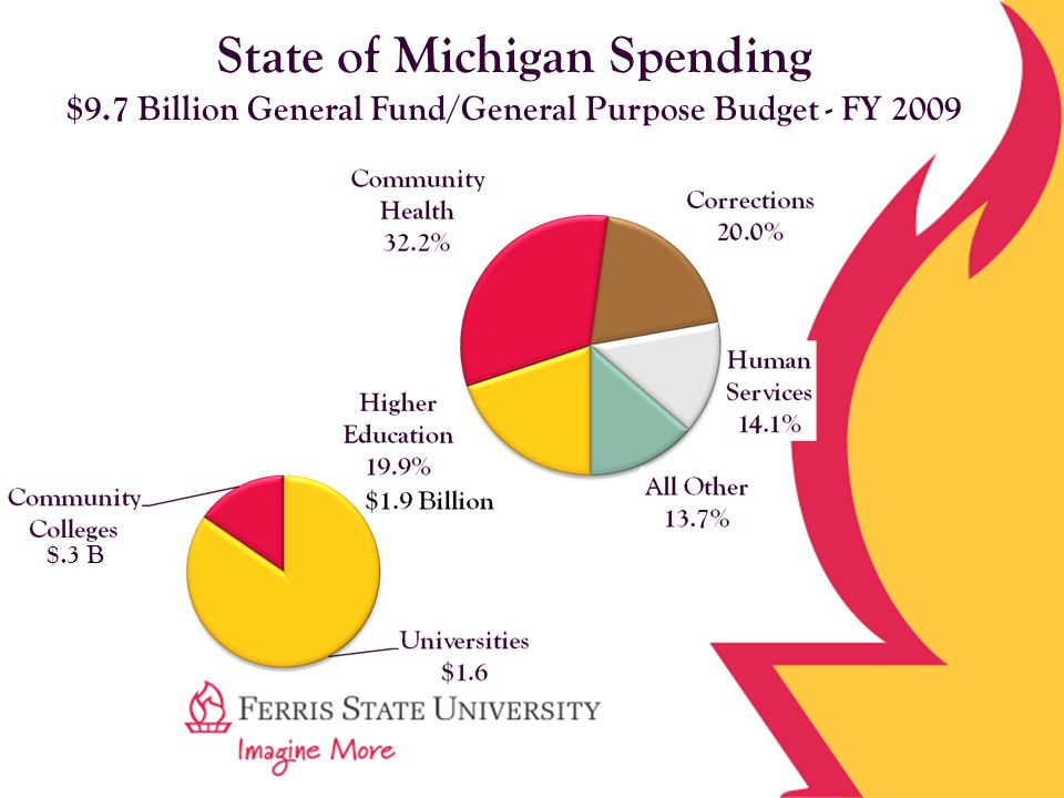 State of Michigan Spending $9.7 Billion General Fund/General Purpose Budget - FY 2009 $.3 B