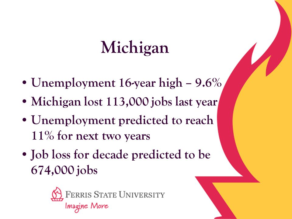 Michigan Unemployment 16-year high – 9.6% Michigan lost 113,000 jobs last year Unemployment predicted to reach 11% for next two years Job loss for decade predicted to be 674,000 jobs