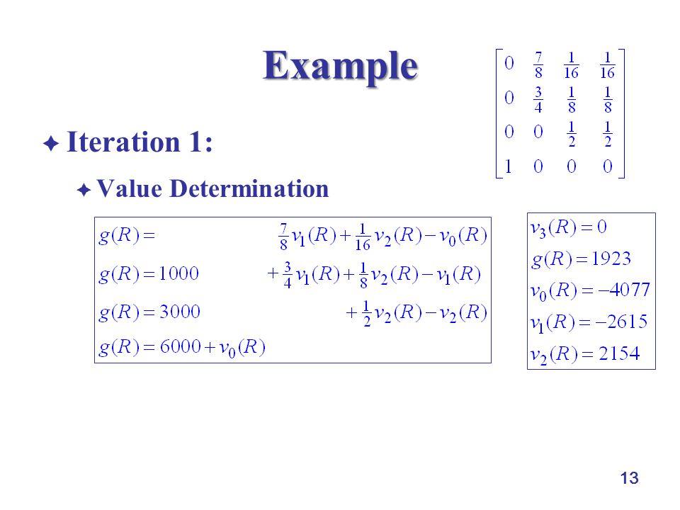 13 Example  Iteration 1:  Value Determination