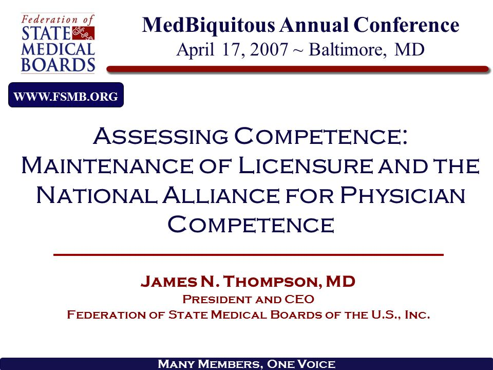 overview The Federation of State Medical Boards (FSMB) – The Organization The Expanding Role in Assessing Physician Competence Maintenance of Licensure (MOL) National Alliance for Physician Competence