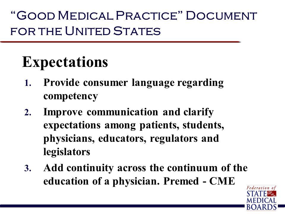 """""""Good Medical Practice"""" Document for the United States 1. Provide consumer language regarding competency 2. Improve communication and clarify expectat"""