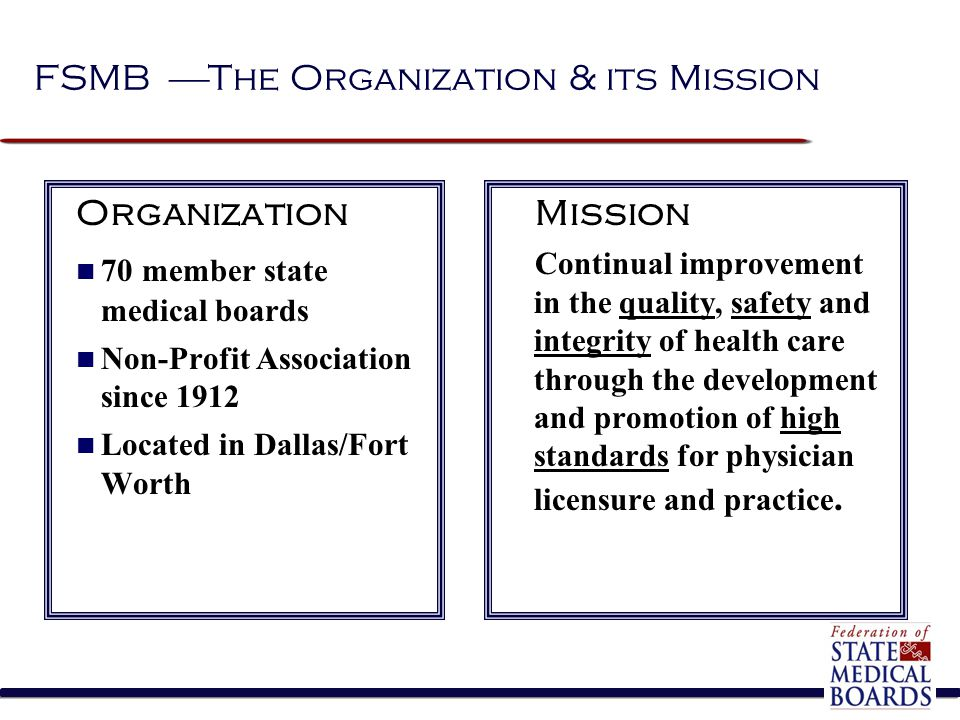 FSMB  The Organization & its Mission Organization 70 member state medical boards Non-Profit Association since 1912 Located in Dallas/Fort Worth Missi