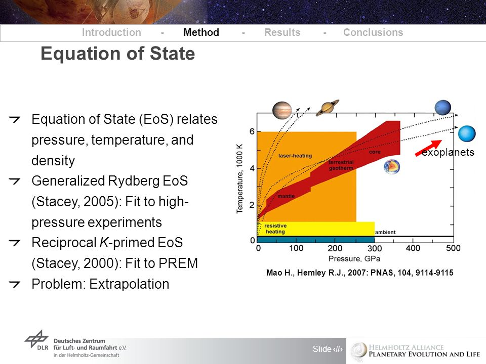 Slide 13 Introduction - Method - Results - Conclusions Equation of State Mao H., Hemley R.J., 2007: PNAS, 104, 9114-9115 Equation of State (EoS) relates pressure, temperature, and density Generalized Rydberg EoS (Stacey, 2005): Fit to high- pressure experiments Reciprocal K-primed EoS (Stacey, 2000): Fit to PREM Problem: Extrapolation exoplanets