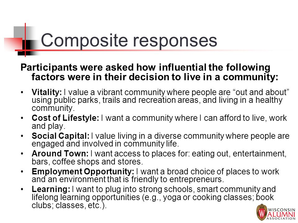 Composite responses Participants were asked how influential the following factors were in their decision to live in a community: Vitality: I value a vibrant community where people are out and about using public parks, trails and recreation areas, and living in a healthy community.