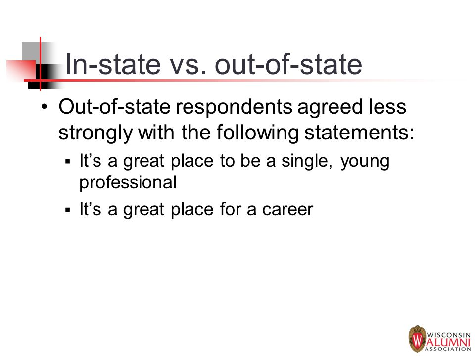 In-state vs. out-of-state Out-of-state respondents agreed less strongly with the following statements:  It's a great place to be a single, young prof