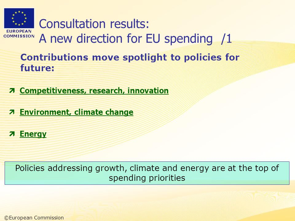 Heads of Representation, Lisbon 12 June 2007 Consultation results: A new direction for EU spending /1  Competitiveness, research, innovation  Environment, climate change  Energy Contributions move spotlight to policies for future: Policies addressing growth, climate and energy are at the top of spending priorities ©European Commission