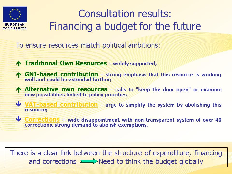 Heads of Representation, Lisbon 12 June 2007 Consultation results: Financing a budget for the future  Traditional Own Resources – widely supported;  GNI-based contribution – strong emphasis that this resource is working well and could be extended further;  Alternative own resources – calls to keep the door open or examine new possibilities linked to policy priorities ;  VAT-based contribution – urge to simplify the system by abolishing this resource;  Corrections – wide disappointment with non-transparent system of over 40 corrections, strong demand to abolish exemptions.