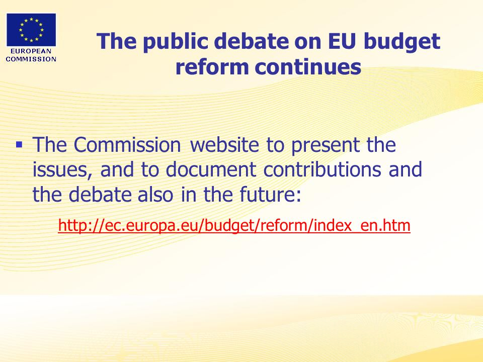 Heads of Representation, Lisbon 12 June 2007 The public debate on EU budget reform continues  The Commission website to present the issues, and to document contributions and the debate also in the future: http://ec.europa.eu/budget/reform/index_en.htm