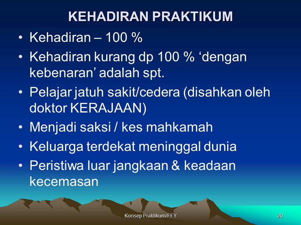 Konsep Praktikum/FFY20 KEHADIRAN PRAKTIKUM Kehadiran – 100 % Kehadiran kurang dp 100 % 'dengan kebenaran' adalah spt. Pelajar jatuh sakit/cedera (disa