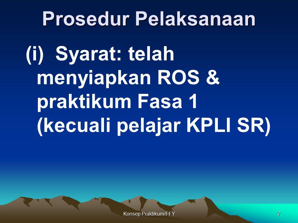 Konsep Praktikum/FFY7 Prosedur Pelaksanaan (i) Syarat: telah menyiapkan ROS & praktikum Fasa 1 (kecuali pelajar KPLI SR)