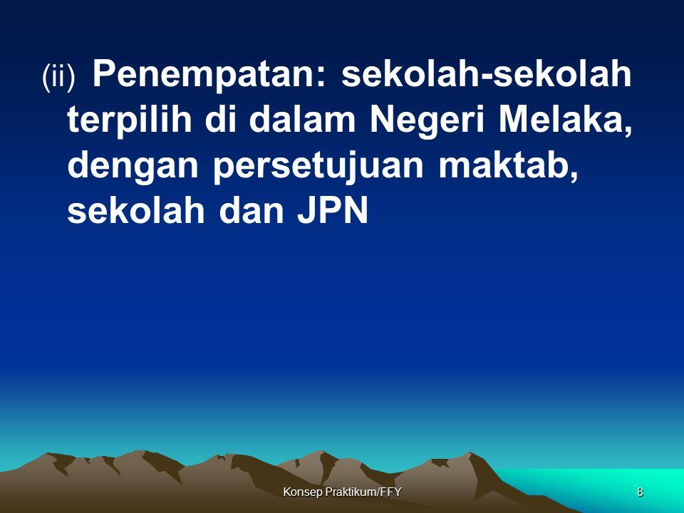 Konsep Praktikum/FFY8 (ii) Penempatan: sekolah-sekolah terpilih di dalam Negeri Melaka, dengan persetujuan maktab, sekolah dan JPN
