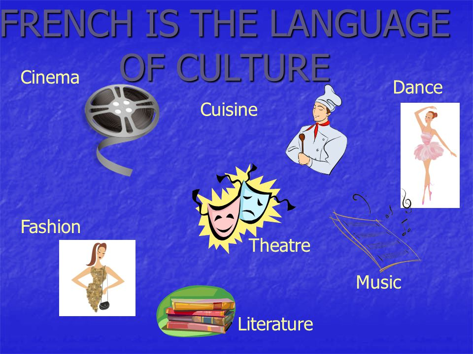 FRENCH IS THE LANGUAGE OF CULTURE Fashion Dance Cuisine Cinema Theatre Music Literature