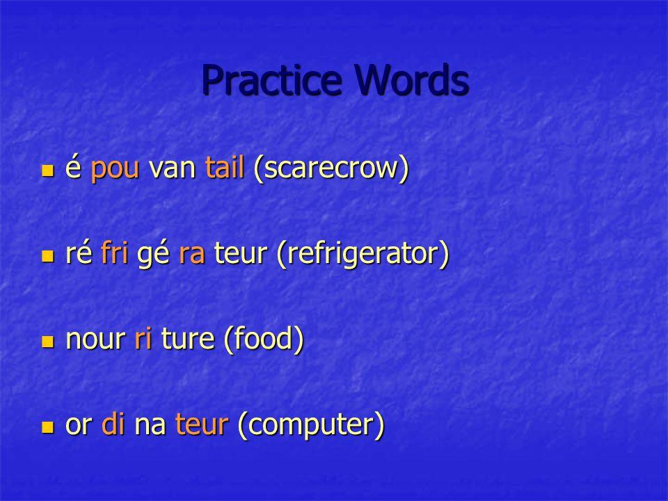 Practice Words é pou van tail (scarecrow) é pou van tail (scarecrow) ré fri gé ra teur (refrigerator) ré fri gé ra teur (refrigerator) nour ri ture (food) nour ri ture (food) or di na teur (computer) or di na teur (computer)