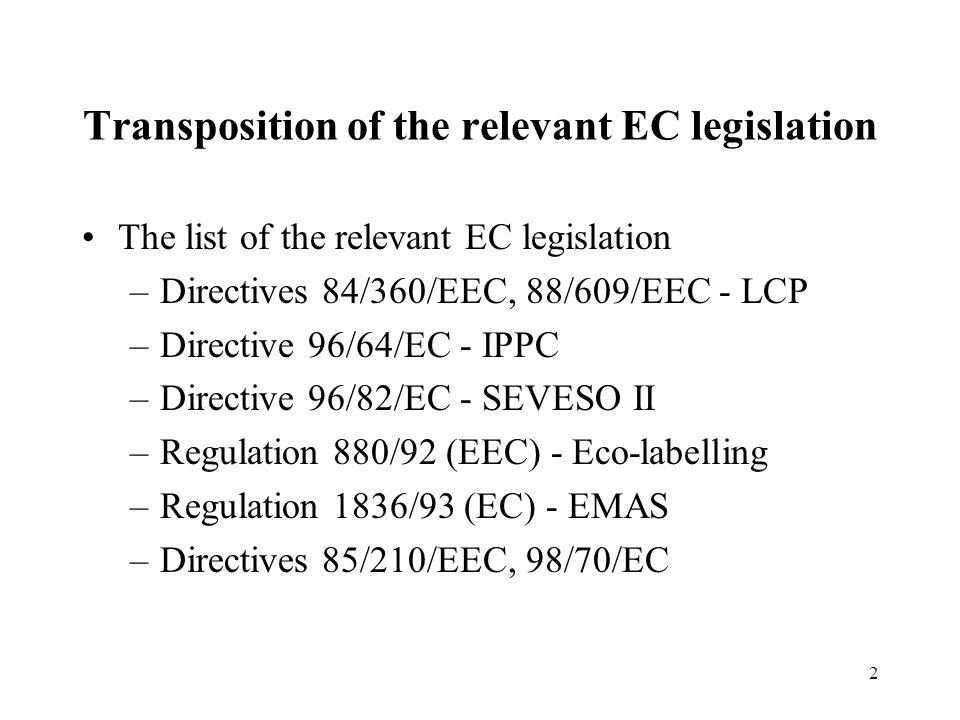 2 Transposition of the relevant EC legislation The list of the relevant EC legislation –Directives 84/360/EEC, 88/609/EEC - LCP –Directive 96/64/EC -