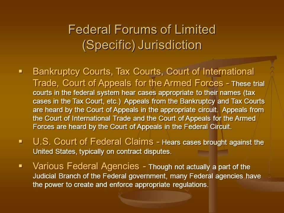  Bankruptcy Courts, Tax Courts, Court of International Trade, Court of Appeals for the Armed Forces - These trial courts in the federal system hear c