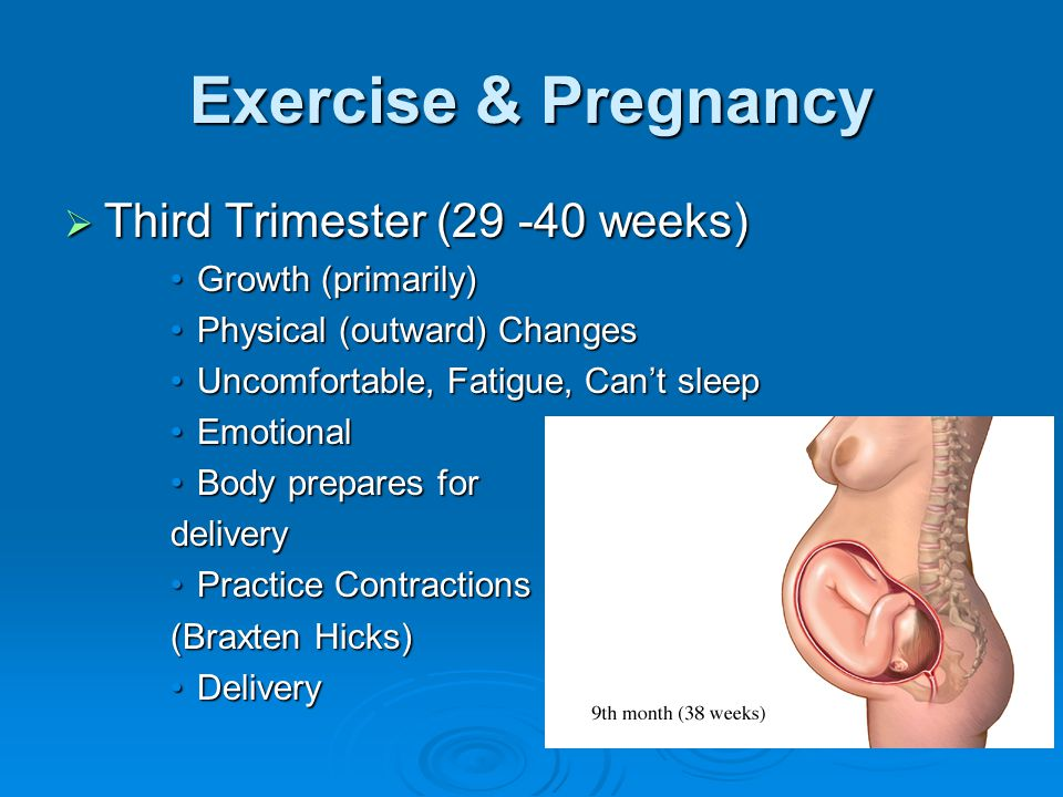 Exercise & Pregnancy  Third Trimester (29 -40 weeks) Growth (primarily)Growth (primarily) Physical (outward) ChangesPhysical (outward) Changes Uncomfortable, Fatigue, Can't sleepUncomfortable, Fatigue, Can't sleep EmotionalEmotional Body prepares forBody prepares fordelivery Practice ContractionsPractice Contractions (Braxten Hicks) DeliveryDelivery