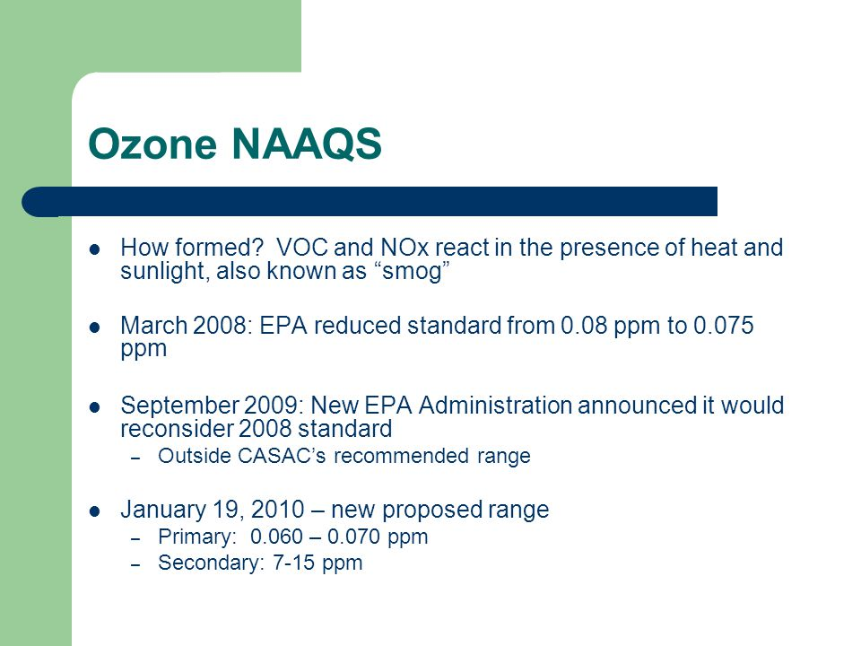 Ozone NAAQS How formed.