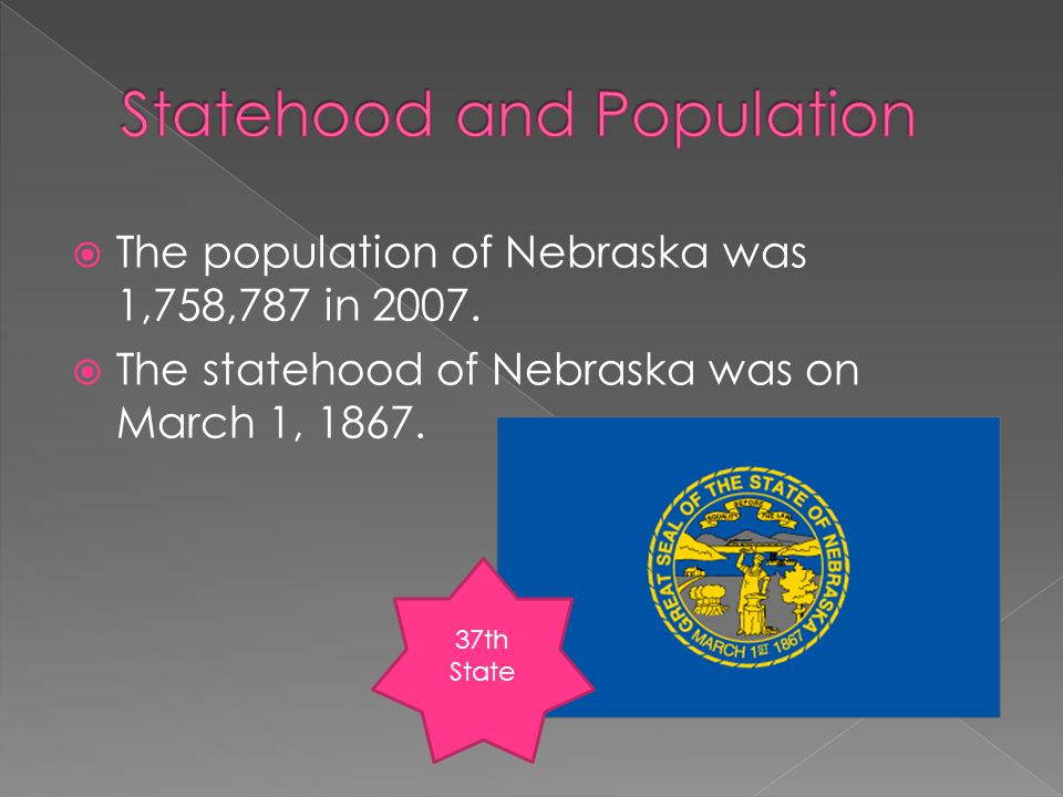  The population of Nebraska was 1,758,787 in 2007.