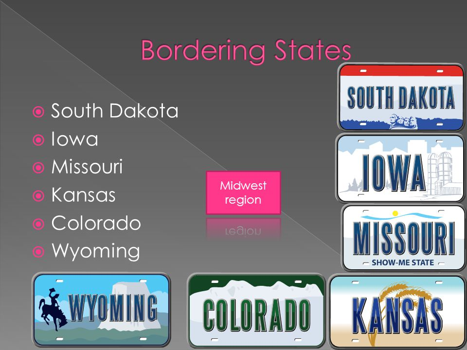 South Dakota  Iowa  Missouri  Kansas  Colorado  Wyoming