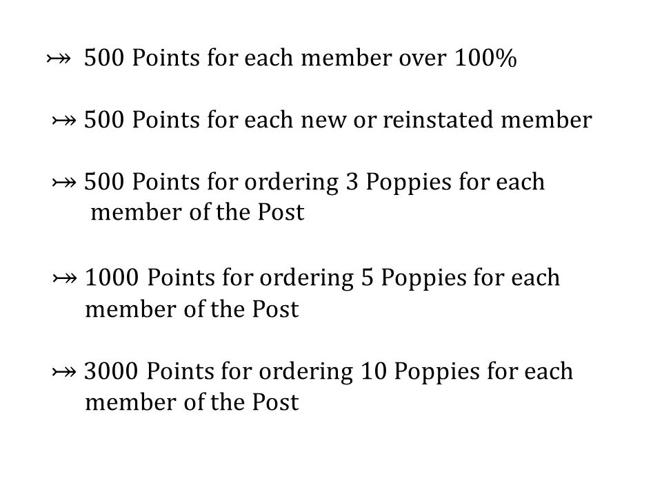 ⤖ 500 Points for each member over 100% ⤖ 500 Points for each new or reinstated member ⤖ 500 Points for ordering 3 Poppies for each member of the Post ⤖ 1000 Points for ordering 5 Poppies for each member of the Post ⤖ 3000 Points for ordering 10 Poppies for each member of the Post