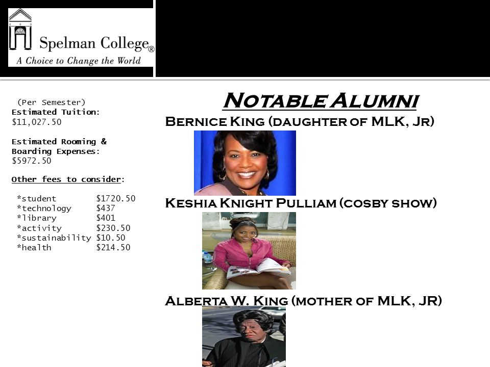 Notable Alumni Bernice King (daughter of MLK, Jr) Keshia Knight Pulliam (cosby show) Alberta W.