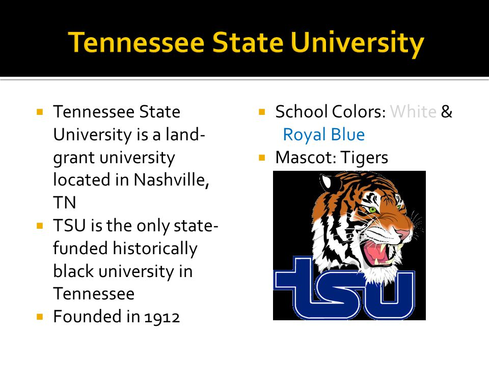  Tennessee State University is a land- grant university located in Nashville, TN  TSU is the only state- funded historically black university in Tennessee  Founded in 1912  School Colors: White & Royal Blue  Mascot: Tigers