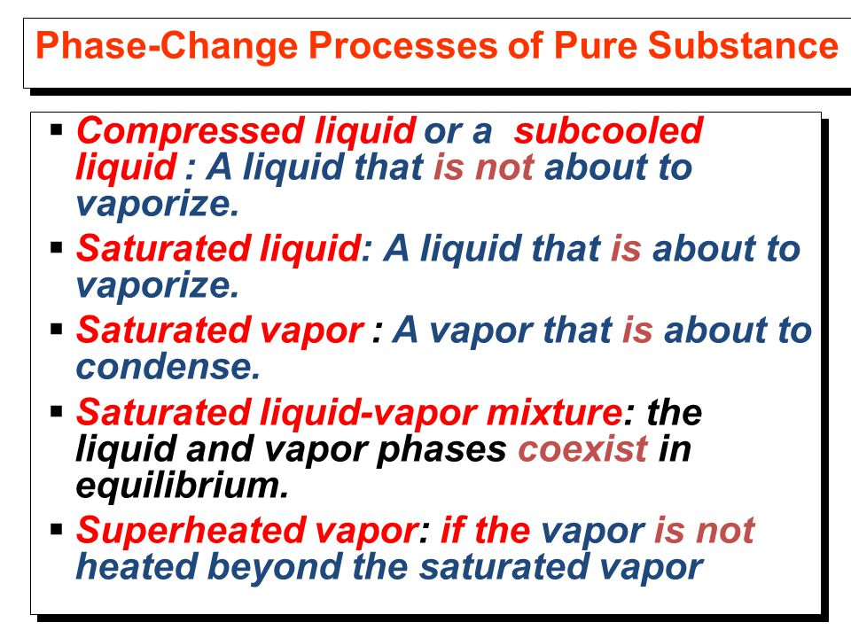 Phase-Change Processes of Pure Substance  Compressed liquid or a subcooled liquid : A liquid that is not about to vaporize.