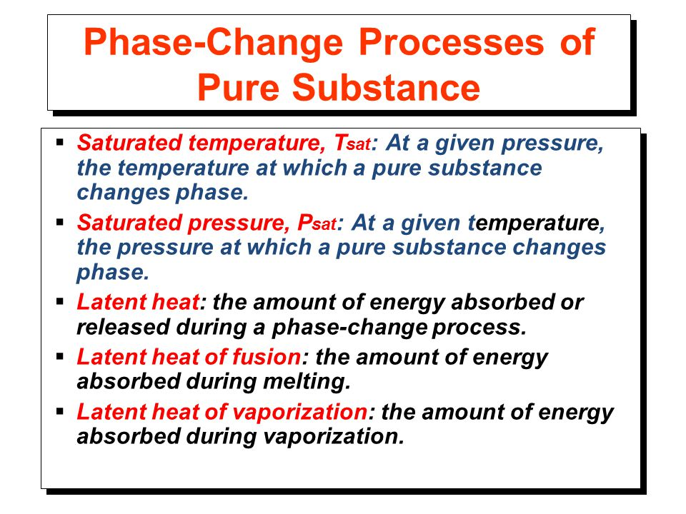 Phase-Change Processes of Pure Substance  Saturated temperature, T sat : At a given pressure, the temperature at which a pure substance changes phase.