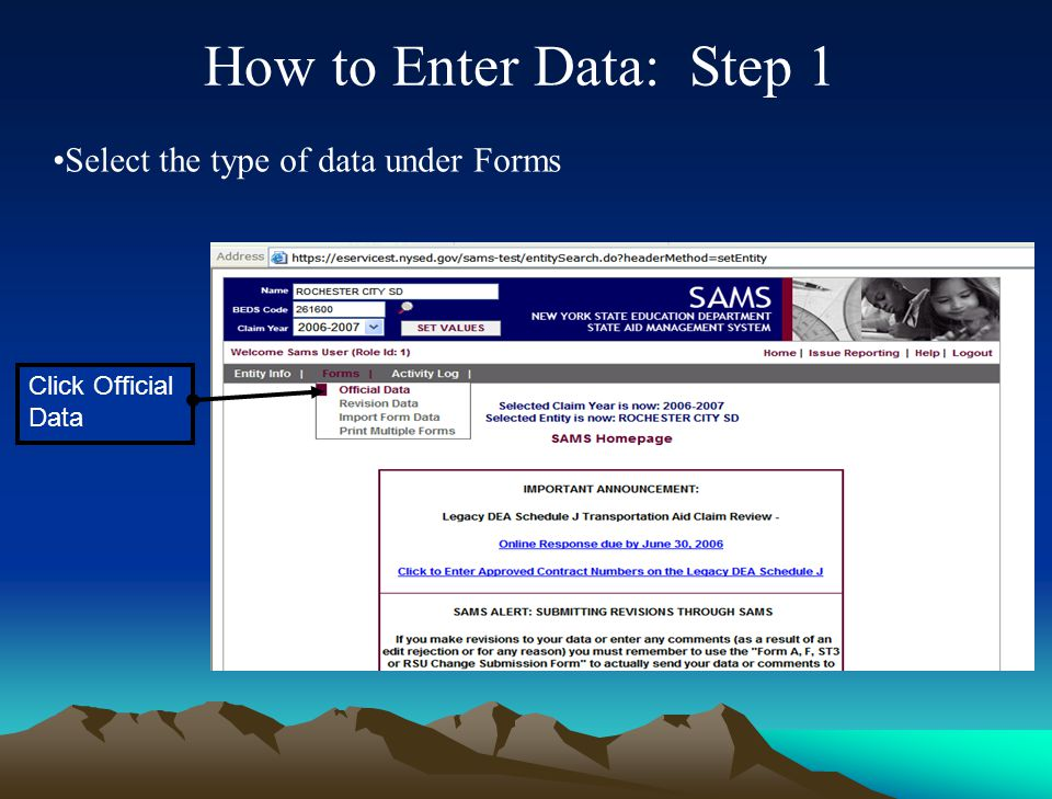 """""""Official Data"""" Used to enter and submit initial Form A, FB, FT and ST-3 and required certifications Displays all data accepted by SED"""" """"Revision Data"""