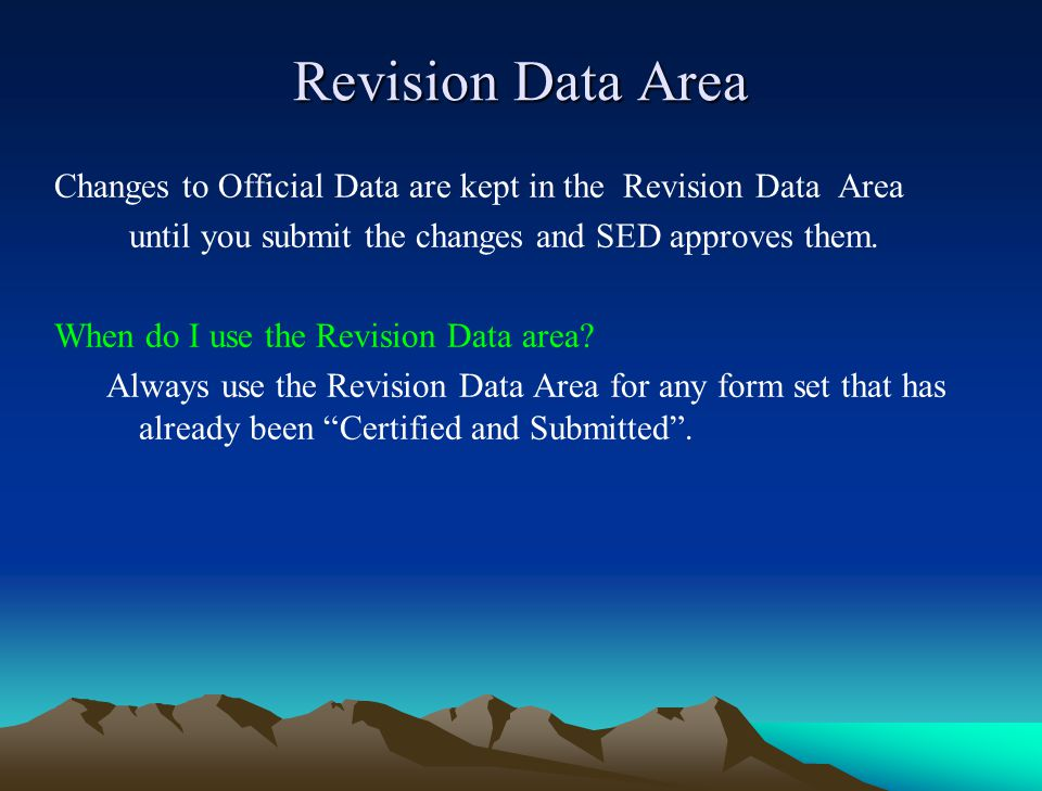 Selecting Forms to Print Options for data types (Official, Revision) are located in the Select Data Area.