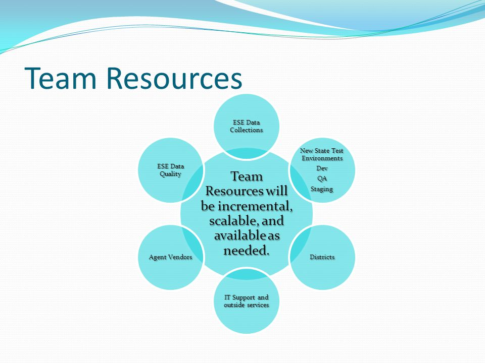 Team Resources Team Resources will be incremental, scalable, and available as needed.
