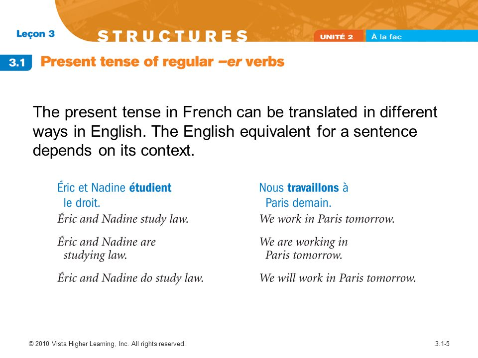 © 2010 Vista Higher Learning, Inc. All rights reserved.3.1-5 The present tense in French can be translated in different ways in English. The English e